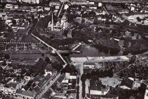 Luftaufnahme Oranienburgs, in der Bildmitte der Speicher